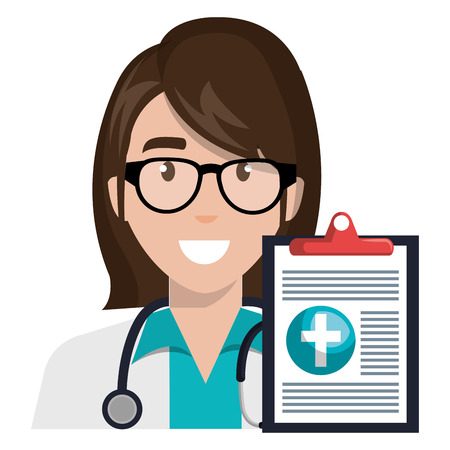 doctor woman with clipboard character vector illustration design Ilustração