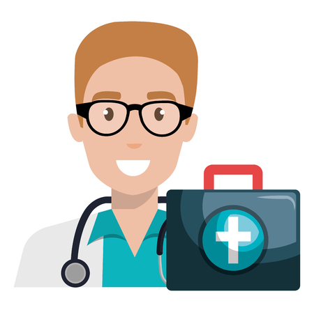 doctor man with medical kit character vector illustration design