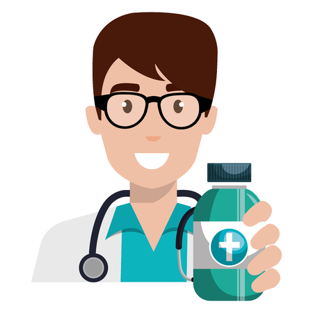 doctor man with medicine bottle character vector illustration design