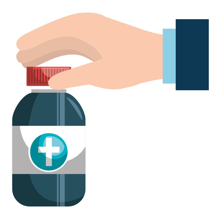 hand with medicine bottle vector illustration design Banque d'images - 106891253