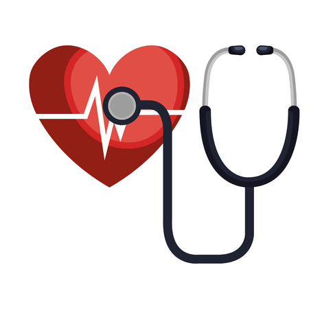 heart cardio with stethoscope vector illustration design Illustration