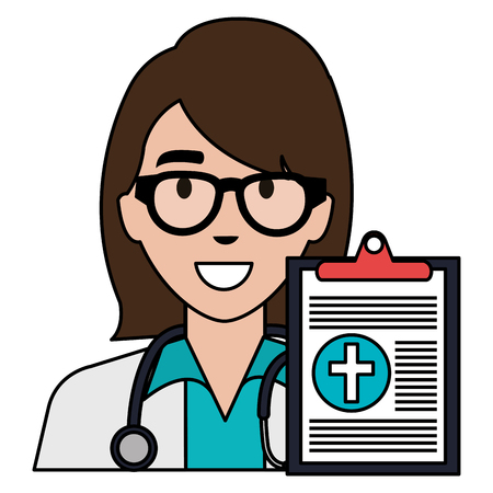 doctor woman with clipboard character vector illustration design Stock Illustratie