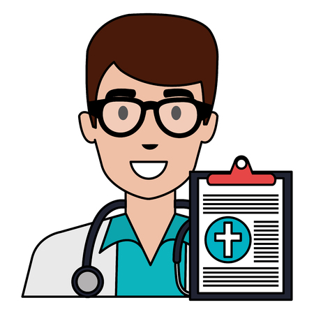 doctor man with checklist character vector illustration design