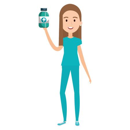 nurse with bottle drugs character vector illustration design Çizim