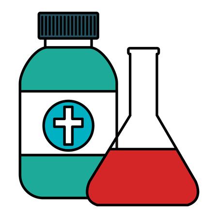 medicine bottle with tube test vector illustration design
