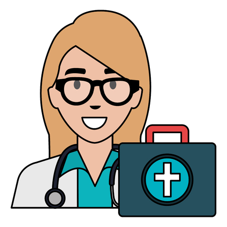 doctor woman with medical kit character vector illustration design Stock Illustratie