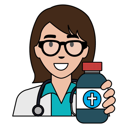 doctor woman with medicine bottle character vector illustration design Ilustração