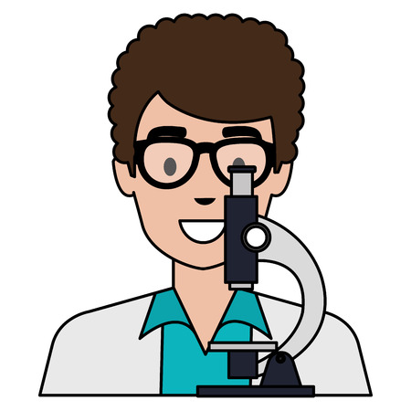doctor man with microscope character vector illustration design Illustration
