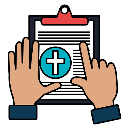 hands with medical order clipboard vector illustration design Illustration