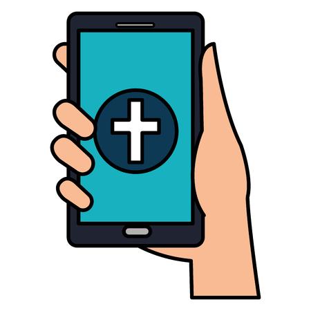 hand with smartphone and medical app vector illustration design Banque d'images - 111735536