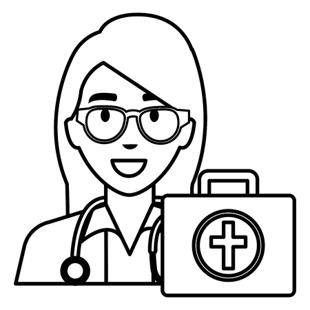 doctor woman with medical kit character vector illustration design Ilustração