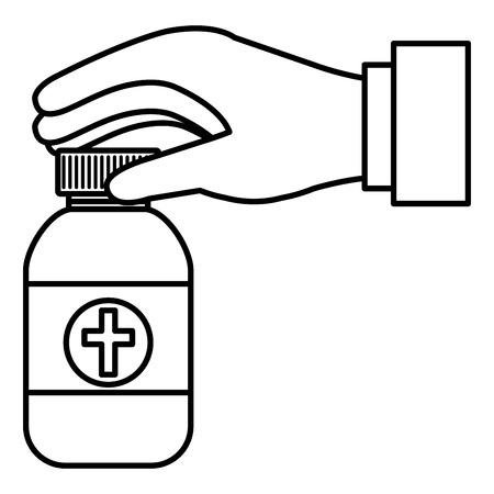 hand with medicine bottle vector illustration design