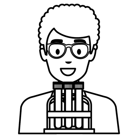 doctor man with tubes tests character vector illustration design
