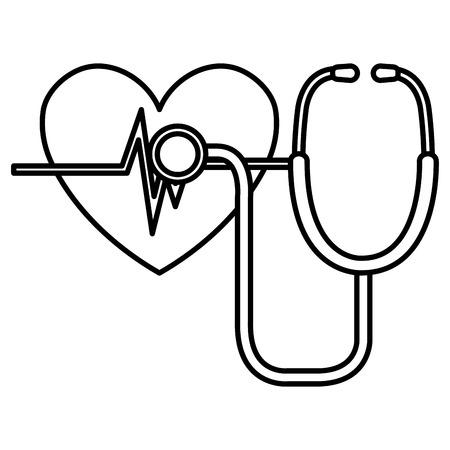 heart cardio with stethoscope vector illustration design Vektoros illusztráció