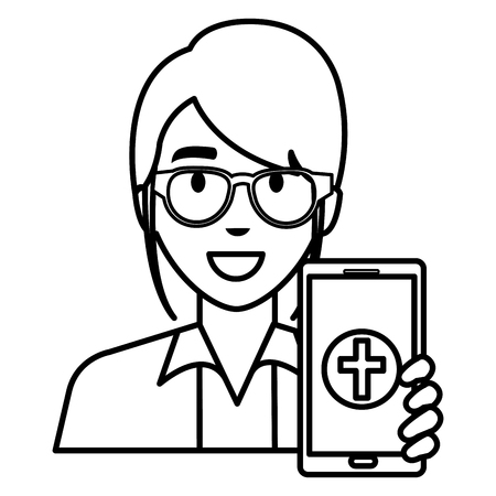 doctor woman with smartphone character vector illustration design