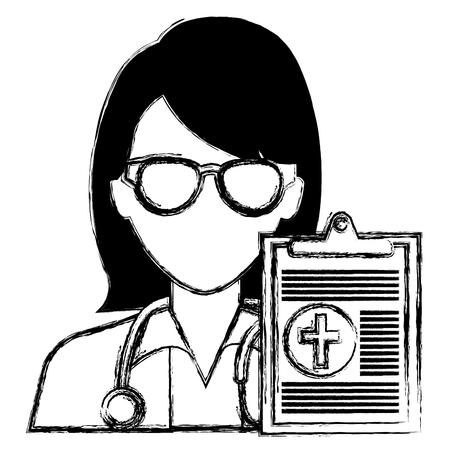 doctor woman with clipboard character vector illustration design Ilustração