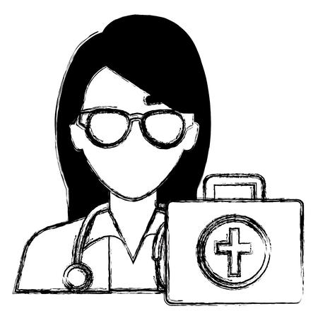 doctor woman with medical kit character vector illustration design Ilustração