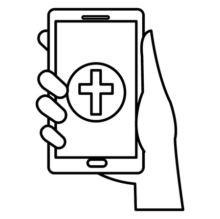 hand with smartphone and medical app vector illustration design Banque d'images - 111735564