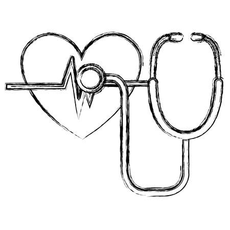heart cardio with stethoscope vector illustration design