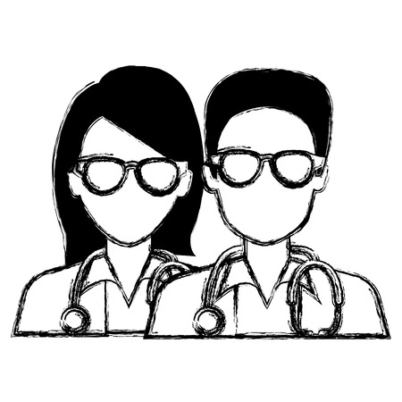 doctors couple avatars characters vector illustration design