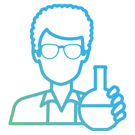 doctor man with flask test character vector illustration design