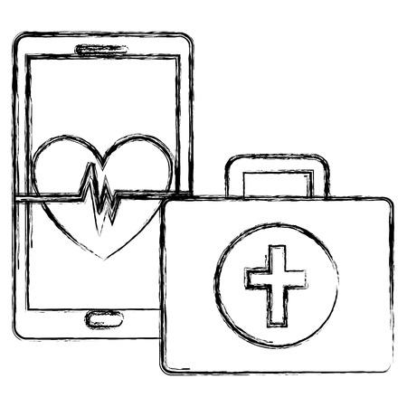 medical kit with smartphone vector illustration design