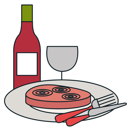 delicious ham in dish with wine vector illustration design