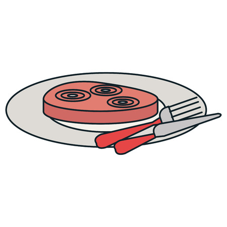 delicious ham in dish with cutleries vector illustration design Illustration