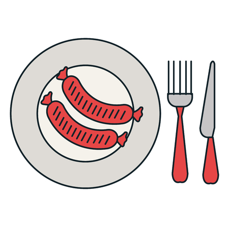 delicious sausage in dish with cutleries vector illustration design