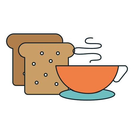 bread toast with coffee cup vector illustration design Standard-Bild - 111735627