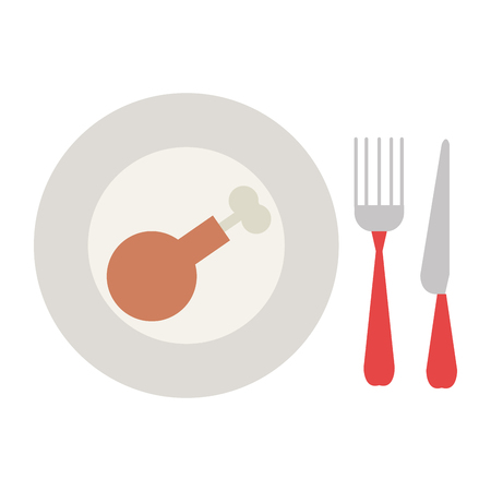 delicious chicken thighs in dish with cutleries vector illustration design Ilustrace