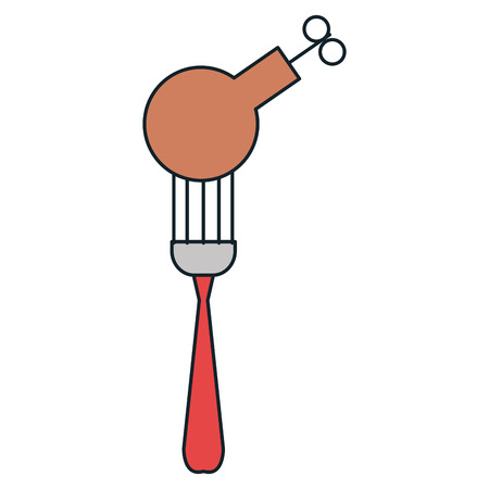 delicious chicken thighs in fork vector illustration design