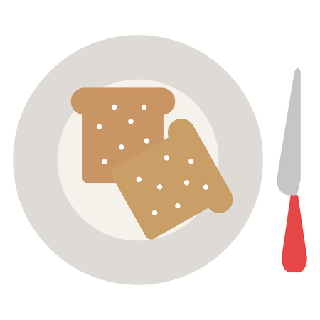 bread toast in dish with knife vector illustration design Standard-Bild - 111735644