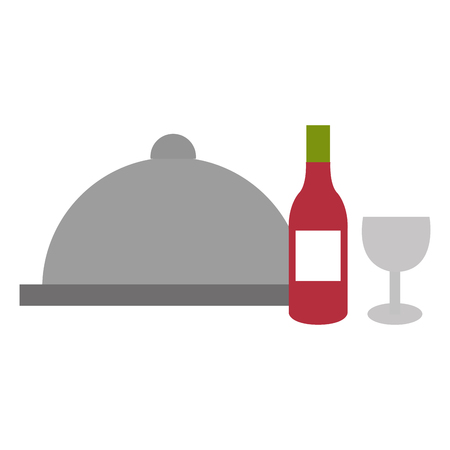 restaurant tray server with wine vector illustration design