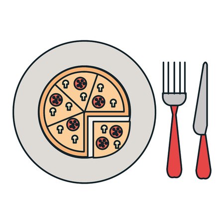 delicious italian pizza in dish with cutleries vector illustration design Imagens - 106895891