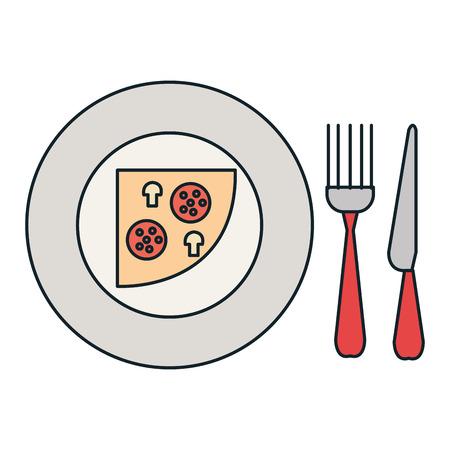 delicious italian pizza in dish with cutleries vector illustration design Illustration