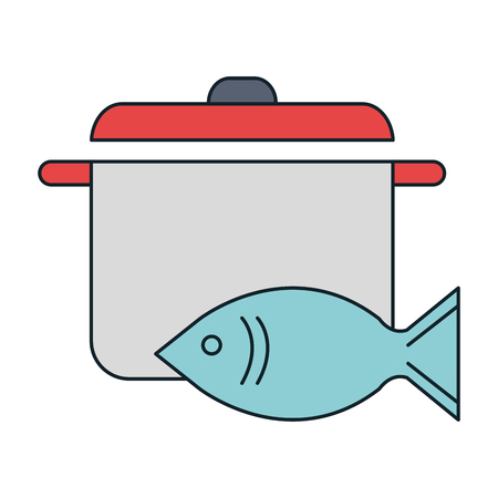 fresh salmon fish with pot vector illustration design 向量圖像