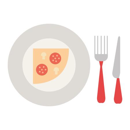 delicious italian pizza in dish with cutleries vector illustration design Banco de Imagens - 111735654