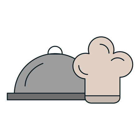 restaurant tray server with chef hat vector illustration design 일러스트