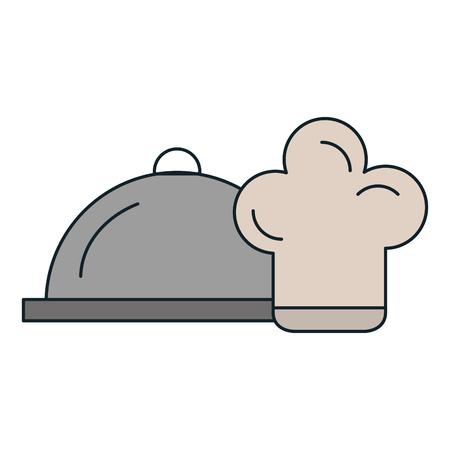 restaurant tray server with chef hat vector illustration design Illustration