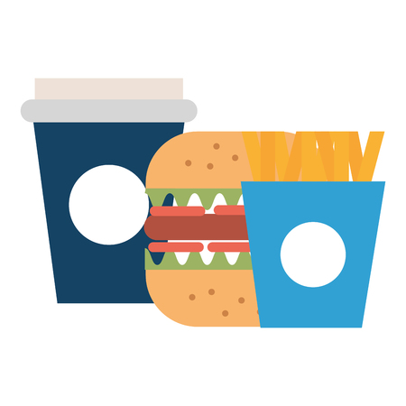 Deliciosa hamburguesa con papas fritas y refrescos, diseño de ilustraciones vectoriales