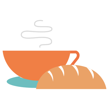 delicious bread with coffee cup vector illustration design