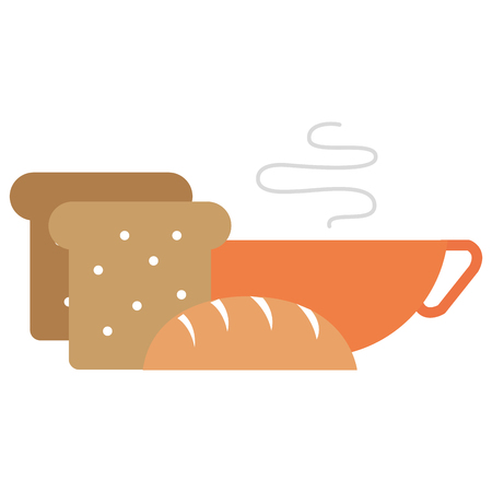 bread toast with coffee cup vector illustration design
