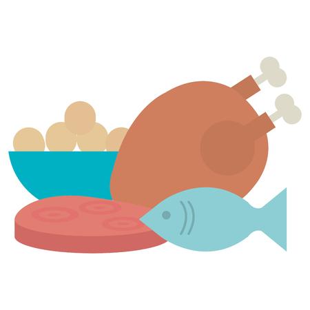 delicious chicken meat with fish and ham vector illustration design Archivio Fotografico - 111735677