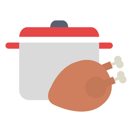 delicious chicken meat with pot vector illustration design