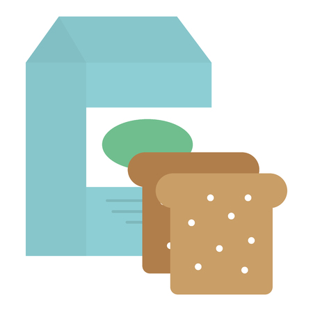 bread toast with milk box vector illustration design