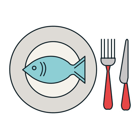 fresh fish in dish with cutleries vector illustration design Ilustrace