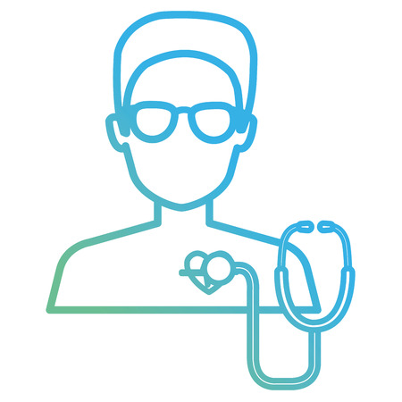 medical patient shirtless with heart and stethoscope vector illustration