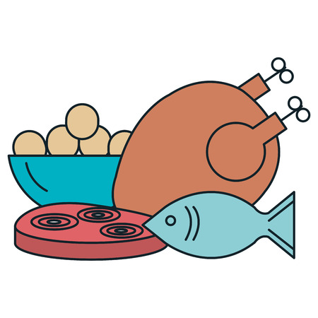 delicious chicken meat with fish and ham vector illustration design Archivio Fotografico - 106896511