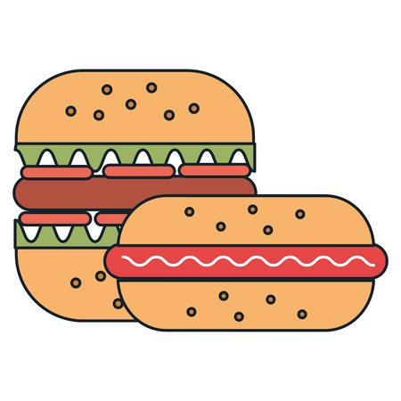 delicious burger with sandwish vector illustration design Ilustracja